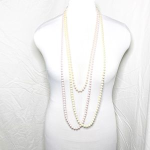 3 Pink and Cream Faux Pearl Beaded Necklaces